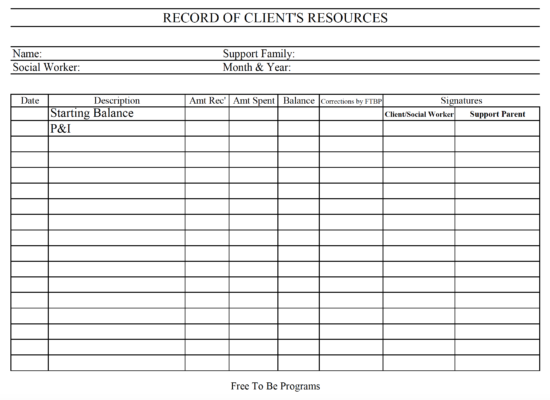 Record of Client Resources Form